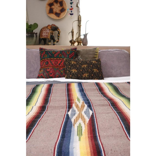 Vintage Mexican Saltillo Blanket - Image 5 of 6