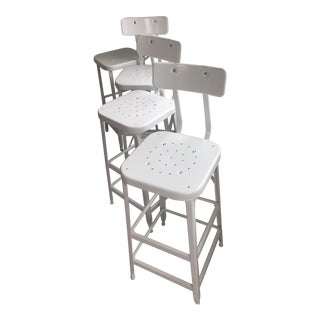 Aurora Industrial Bar Stools with Backs - Set of 4