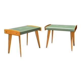 Italian Walnut & Vinyl Footstools - A Pair