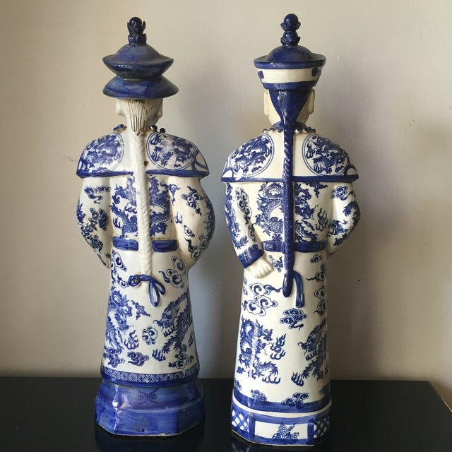 Image of Blue & White Chinoiserie Ceramic Statues - A Pair
