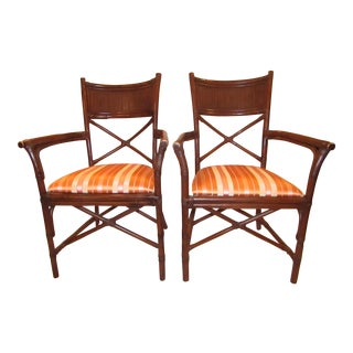 Dark Upholstered Bamboo Chairs - A Pair