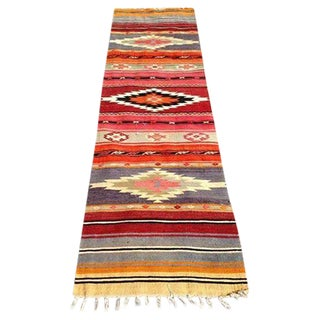 Vintage Turkish Handwoven Runner Kilim Rug