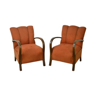 Art Deco Style Pair of Open Arm Lounge Chairs