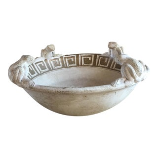 Handmade Decorative Bowl With 4 Frogs Sitting on the Rim.