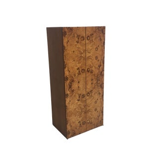 Mid Century Burled Wood and Teak Wall Hanging Cabinet