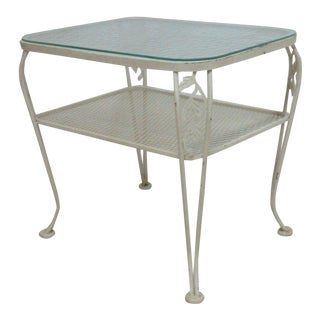 Vintage Mid-Century Outdoor Patio Iron End Table
