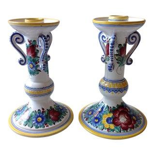Hand-Painted Czech Pottery Candlesticks - A Pair