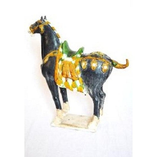Tang Dynasty Style Ceramic War Horse Statue - Image 3 of 4