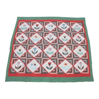 Mid-Century Hand Made Floral Log Cabin Applique Quilt