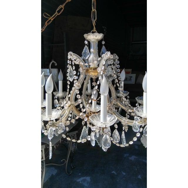Vintage French Crystal 8 Light Chandelier - Image 3 of 7