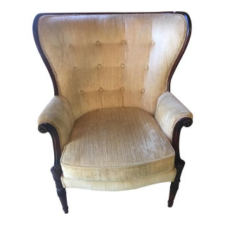Antique Yellow Wingback Chair