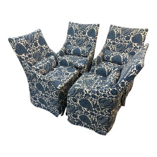 Blue Slipcovered Dining Chairs - Set of 4
