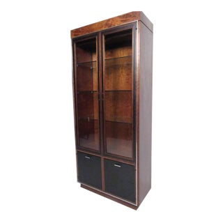 John Stuart for Founders Leather Front Vitrine Display Cabinet