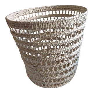 White Wicker Vintage Waste Basket
