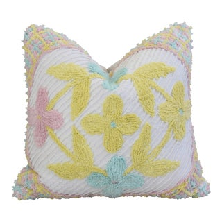 Jumbo Floral Pastel Tufted Chenille Feather/Down Pillow