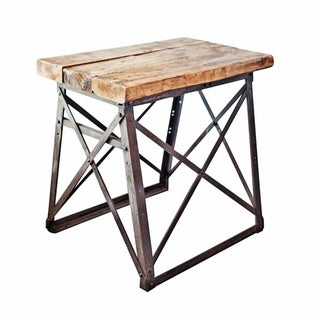 French Industrial X-Side Table Steel & Wood