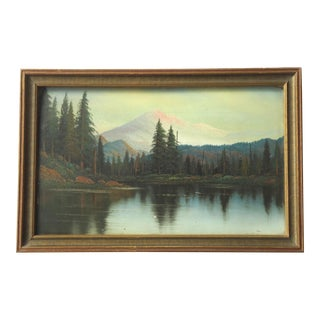 Antique Rocky Mountain Landscape Painting