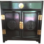 Image of Black Lacquer Asian Side Cabinet or Nightstand