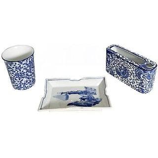 3-Piece Vintage Blue & White Bathroom Set