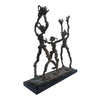 Perez Abstract Bronze Acrobat Sculpture