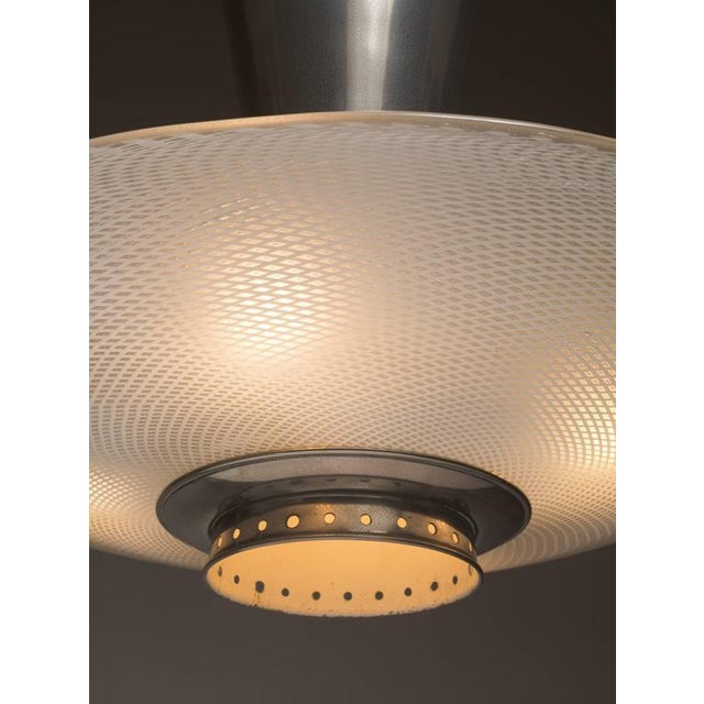 Image of Large Dutch 1920s Chandelier, Nickel-Plated Copper and White Glass Shade