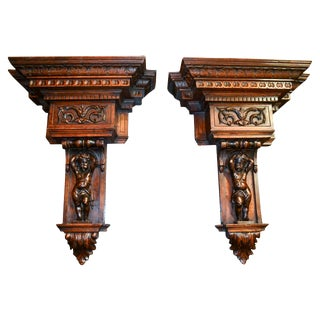 Pair of French Carved Figural Wall Brackets