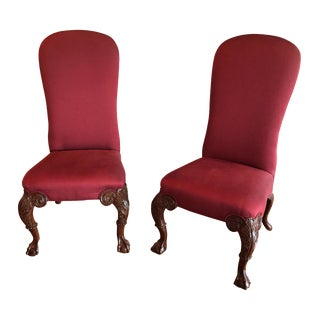 Red Century Slipper Chairs - A Pair