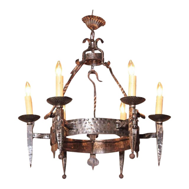 Early 20th Century French Wrought Iron Six-Light Chandelier - Image 1 of 10