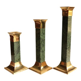 Green Marble and Brass Graduated Candlesticks - Set of 3