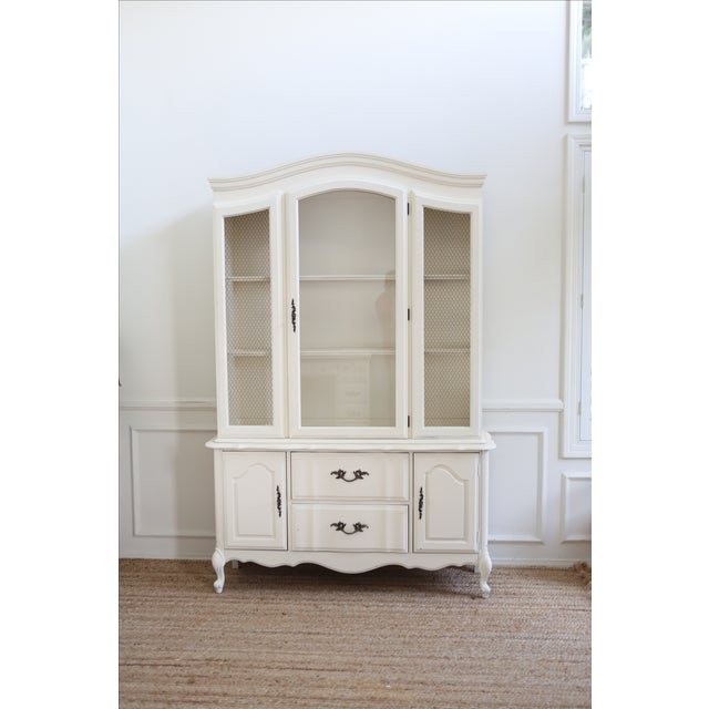 Shabby Chic White Vintage China Cabinet - Image 3 of 6