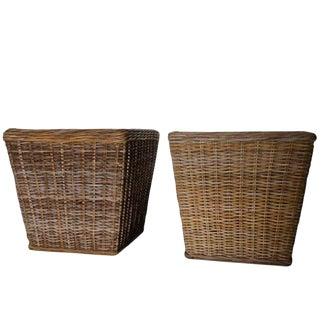Woven Wicker Planters with Metal Liner Inserts - A Pair