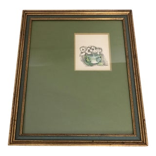 1960's Giltwood Framed Green Frog Print
