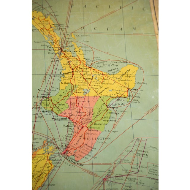 1960s Vintage New Zealand Pull Down Map Chairish