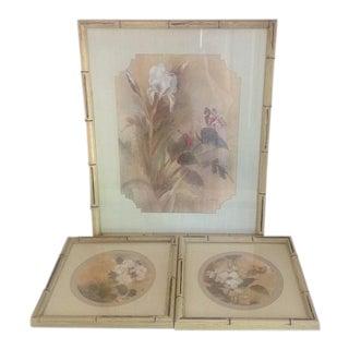 Faux Bamboo Framed Botanical Prints - Set of 3