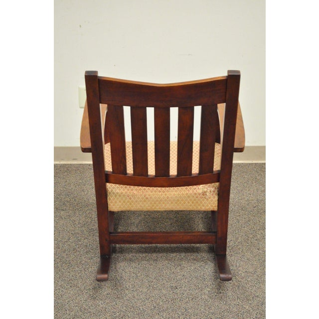 Antique Solid Maple Mission Arts & Crafts Rocker Rocking Chair Stickley Era - Image 5 of 10