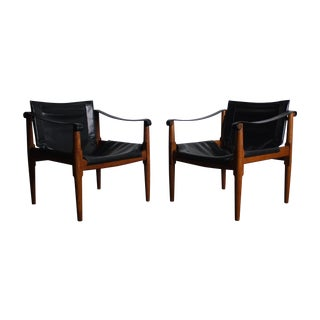Mid Century Teak and Leather Safari Chairs - Pair