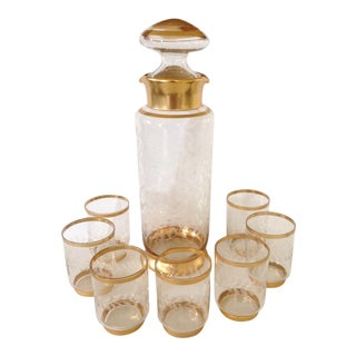 Gilt Glass Beverage Set - Set of 8