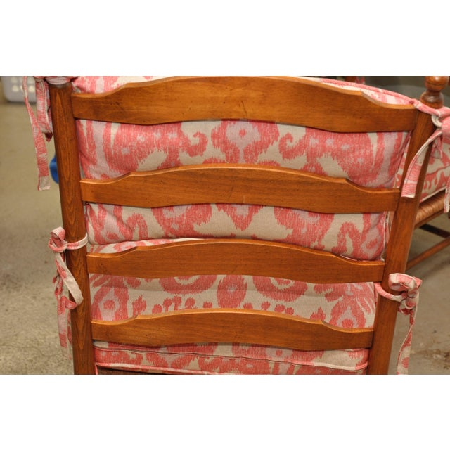 Ikat French Ladderback Cushioned Rush Seat Chairs - A Pair - Image 3 of 8