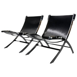 Italian Chrome & Leather Sling Scissor Chairs - A Pair