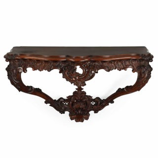 Antique Carved Rosewood Wall-Mounted Antique Console Table