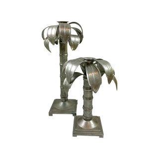 Palm Tree Metal Candleholders - Pair