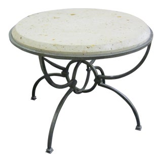 Fossil Stone & Metal Accent Table