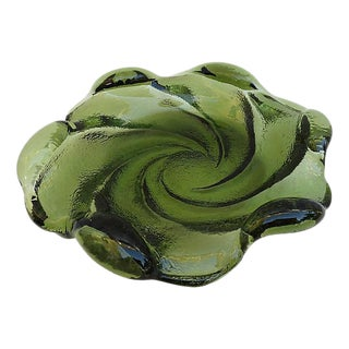 Mid-Century Fenton Army Green Biomorphic Catchall