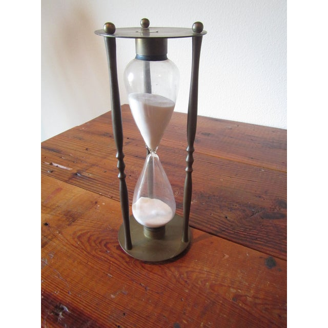 Mid-Century Modern Brass Hourglass Sand Timer - Image 2 of 7