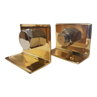 Brass & Chrome Nut & Bolt Bookends