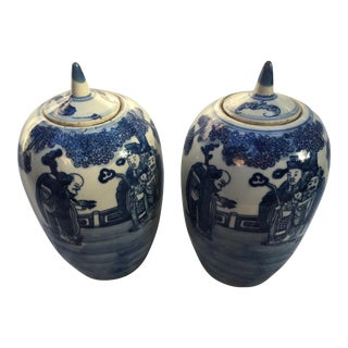 Blue & White Ginger Jars - A Pair