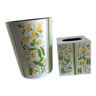 Vintage Boutique Tissue & Wastebasket - Set of Two