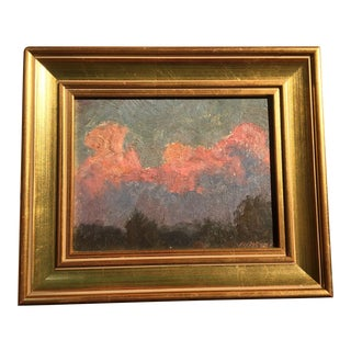 Framed 'Pink Clouds' Oil Painting