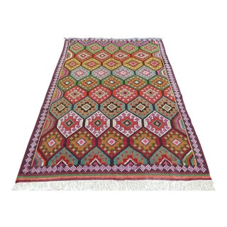 Antique Turkish Antalya Kilim Rug - 5′11″ × 8′10″