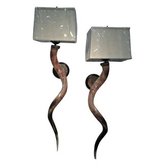 Polished Kudu Horn Sconces With Shades - a Pair